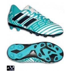 Adidas NEMEZIZ MESSI 17.4 Niños Blanco-Turquesa Bota Futbol Tacos S77201