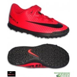 Nike MERCURIAL VORTEX 3 Niño Rojo VELCRO Zapatilla Futbol Turf