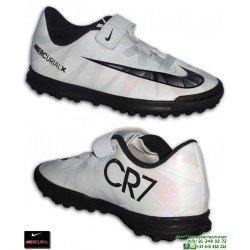 Nike MERCURIAL VORTEX 3 Cristiano Ronaldo Blanca Niño Zapatilla VELCRO Futbol TURF 852493-401