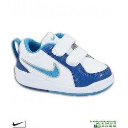 Nike PICO 4 TD Zapatilla Niño Blanco-Royal VELCRO clasica uniforme deporte infantil junior colegio escolar 454501-125