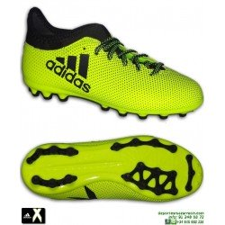 Adidas X 17.3 niños Amarilla Bota Futbol Hierba Artificial AG calcetin
