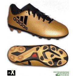 Adidas X Tango 17.4 Niños Dorada Bota Futbol Hierba Artificial FxG