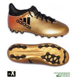 Adidas X 17.3 Niños Dorada Bota Futbol Calcetin Hierba Artificial AG