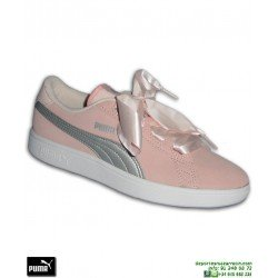 Sneakers Chica PUMA SMASH V2 RIBBON Cordones Lazo Rosa Rihanna Creeper 366003-02