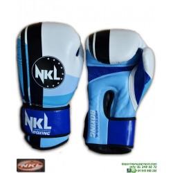Guante Boxeo NKL PRISMA Piel Búfalo Blanco-Azul CGU00004BB