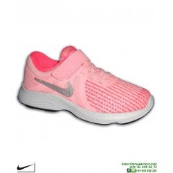 Zapatilla NIKE REVOLUTION 4 Niña Velcro Rosa PSV 943307-600 deporte