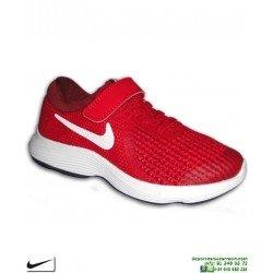 Zapatilla NIKE REVOLUTION 4 Niño Velcro Rojo PSV 943305-601 deporte