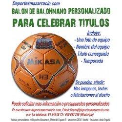Balon de Balonmano PERSONALIZADO Para Celebrar Titulo imagen Nombre equipo y fecha