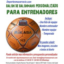 Balon Balonmano PERSONALIZADO Para entrenadores imagen foto nombre equipo fecha temporada