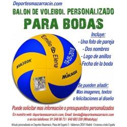 Balón de Voleibol PERSONALIZADO Para bodas Imagen pareja 2 Nombres logo de anillos fecha