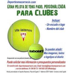 Pelota Tenis Padel Gigante PERSONALIZADA Para Clubes Logotipo escudo Nombre