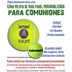 Pelota Tenis Padel Gigante PERSONALIZADA Para Comuniones Imagen Nombre