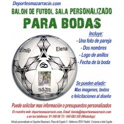 Balón de Futbol Sala PERSONALIZADO Para bodas Imagen pareja Nombre anillos fecha