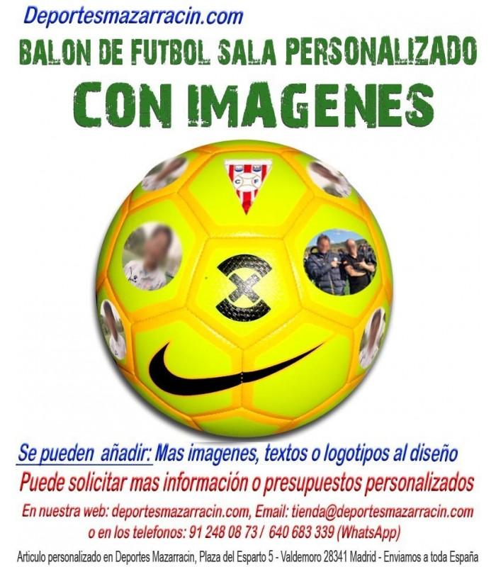 b561442189599 Balón de Futbol Sala PERSONALIZADO con fotos imagen escudo logotipo