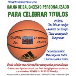 Balón de Baloncesto PERSONALIZADO Para Celebrar Titulos Imagen nombre equipo fecha temporada Adidas All court