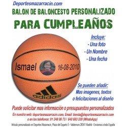 Balón Baloncesto PERSONALIZADO Para Cumpleaños Imagen foto Nombre fecha Adidas All court
