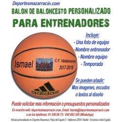 Balón Baloncesto PERSONALIZADO Para Entrenadores Imagen foto Nombre entrenador equipo fecha temporada Adidas All court