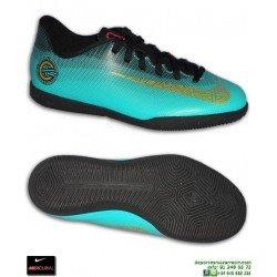 Nike MERCURIAL VAPOR 12 CLUB CR7 Niño JADE Zapatilla Cristiano Ronaldo Futbol sala Indoor verde AJ3105-390
