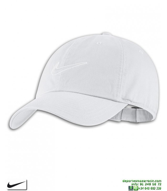 Gorra NIKE Clasica Heritage86 Cap Blanca 943091-100 visera curva logo  swoosh Sportswear Essentials 08f8617fe90