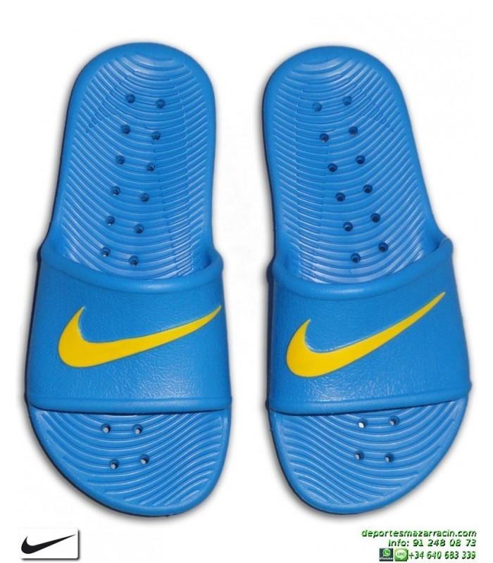 Chancla Nike KAWA SHOWER Junior Azul-AmarilloSandalia pala junior  AQ0899-400 piscina playa chico 9f52e0ae5a40c