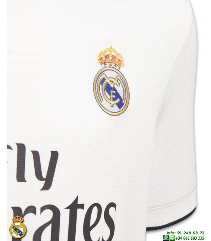 Camiseta REAL MADRID 2018-2019 Blanca niño 1ª Equipacion Adidas Oficial LFP  CG0552 futbol 4d0a2d39a936b