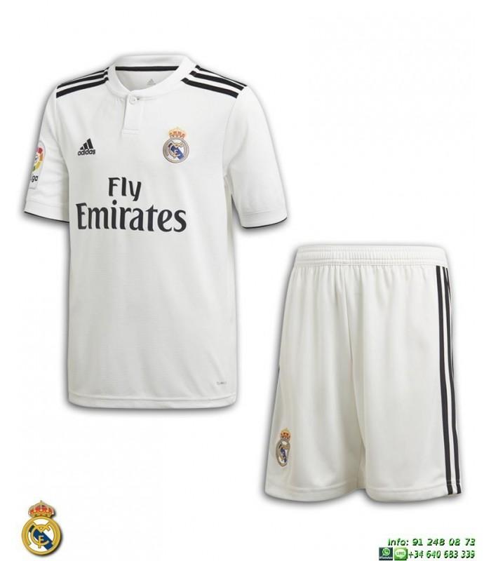 9127e3e2a7aad Equipacion REAL MADRID 2018-2019 Blanca 1ª Camiseta Junior Adidas Oficial  LFP CG0553 futbol