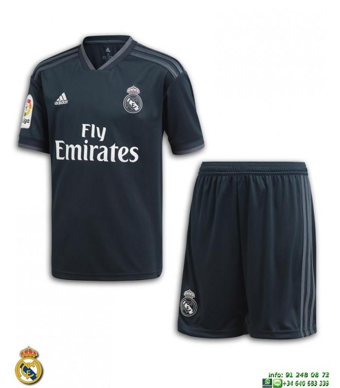 68fb9c275aed6 Equipacion REAL MADRID 2018-2019 Negra 2ª Camiseta Junior Adidas Oficial  LFP CG0569 futbol
