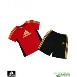 ADIDAS conjunto niño infantil camiseta short rojo I J FBALL SET