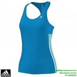 ADIDAS camiseta tirantes deporte mujer AZUL TRANSPIRABLE clima cool mujer gimnasio correr running D89738