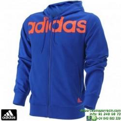 ADIDAS Sudadera Hombre LIN FZ HOOD Azul S21303 capucha cremallera chaqueta 3 stripes rayas