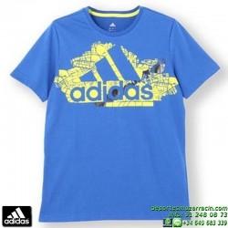 Camiseta ADIDAS YB LR S BR TEE Azul Manga Corta Junior niño AA8139