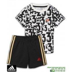 Conjunto ADIDAS I SUM SET COUNT Infantil Blanco-Negro BK3003 baby camiseta pantalon