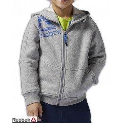 Sudadera Junior REEBOK Boys Essentials Full Zip Fleece Cremallera capucha Gris BQ5144