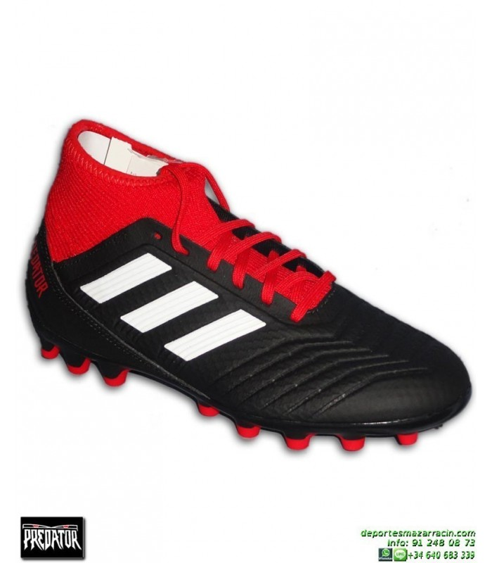 ADIDAS PREDATOR 18.3 AG Negro-Rojo Bota Futbol Calcetin Hierba Artificial  BB7747 bb7cb95c6c93f