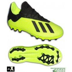 ADIDAS X 18.3 Junior Amarillo Fluor Bota Futbol con Calcetin Hierba Artificial