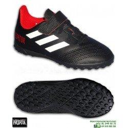 ADIDAS PREDATOR Niños Tango 18.4 Negro Zapatilla Futbol Turf Velcro
