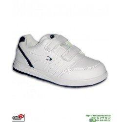 Deportiva Colegio NIÑO Blanco-Azul Velcro John Smith CRCELER Zapatilla uniforme escolar