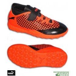 PUMA FUTURE 2.4 Niños Griezmann Naranja Zapatilla Futbol Velcro turf 105036-01