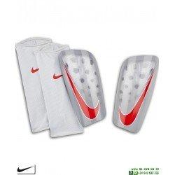 Espinillera Nike MERCURIAL LITE Gris-Rojo con Media de Sujeccion futbol SP2120-043