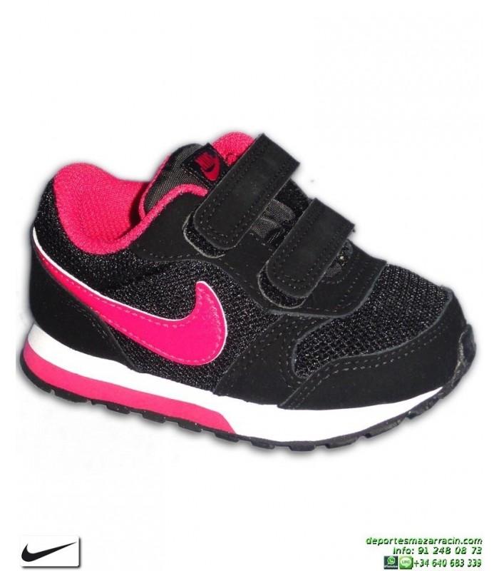 8bbbc5e60be Zapatilla Nike MD RUNNER 2 Infantil Niña TD Velcro Negro-Rosa 807328-006