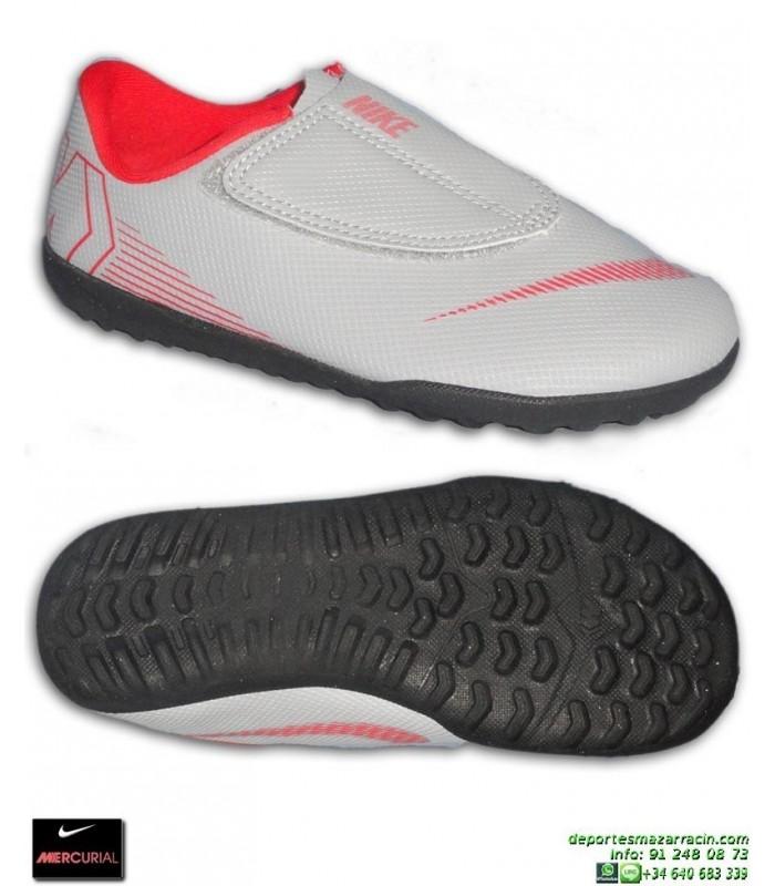 Nike MERCURIAL VAPOR 12 CLUB Niño Gris Zapatilla Futbol Velcro Turf  AH7357-060 03193658143c8
