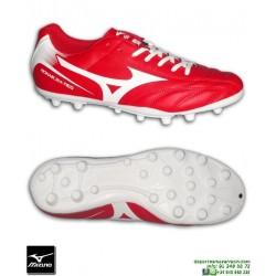 Mizuno MONARCIDA NEO AG Rojo-Blanco Completa Bota Futbol clasica Piel tacos P1GA172562