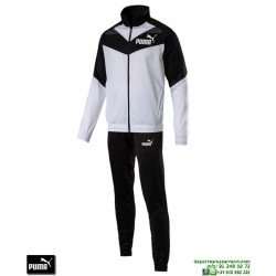 Chandal PUMA ICONIC TRICOT SUIT Blanco-Negro Hombre 851559-01 poliester acetato deporte chaqueta pantalon tracksuit