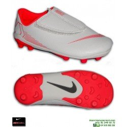 05826a8f488 Nike MERCURIAL VAPOR 12 CLUB Niño Gris Bota Futbol Tacos Velcro