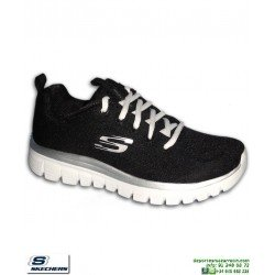 Deportiva Skechers Mujer GRACEFUL Get Connected Negro-Blanco 12615/BKW PANTILLA Memory Foam