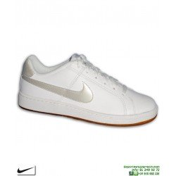 Zapatilla Clasica Nike COURT ROYALE Mujer Piel Blanca-Caramelo 749867-115 chica