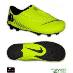Nike MERCURIAL VAPOR 12 CLUB Niño Amarilla Bota Futbol Tacos Velcro