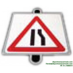 señal de trafico PELIGRO ESTRECHAMIENTO educación vial escuela