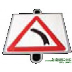 señal de trafico PELIGRO CURVA IZQUIERDA educación vial escuela