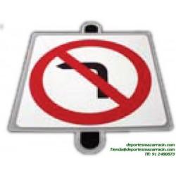 señal de trafico PROHIBICIÓN GIRO IZQUIERDA educación vial escuela